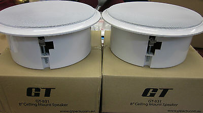 2x 8 inch Ceiling Roof or Wall Mount Speakers Home Theatre 8 Ohm 30 Watt RMS