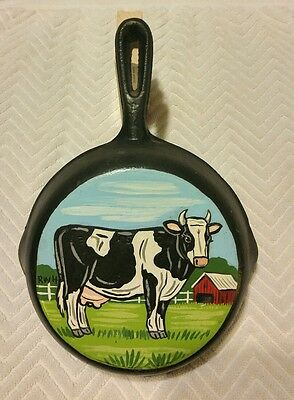 HAND PAINTED CAST IRON SKILLET 6/2 MILK COW AND FARM Farming Country Pasture