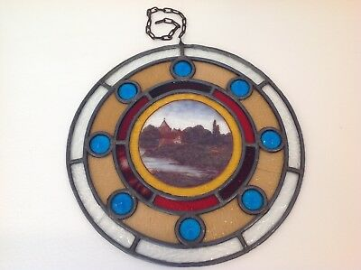 VictorianPainted Landscape, Sheep Stained Glass Roundel with 8 Jewels + Chain