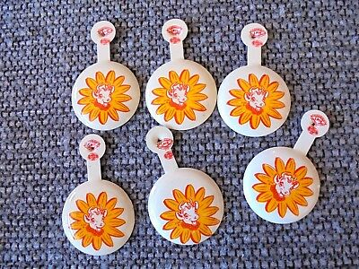 Lot of 6 Vintage Borden Dairy Elsie the Cow White Background Fold Tab Pinbacks
