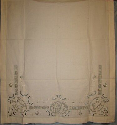 Foldover Sham With Cherubs, Embroidery, Filet Lace