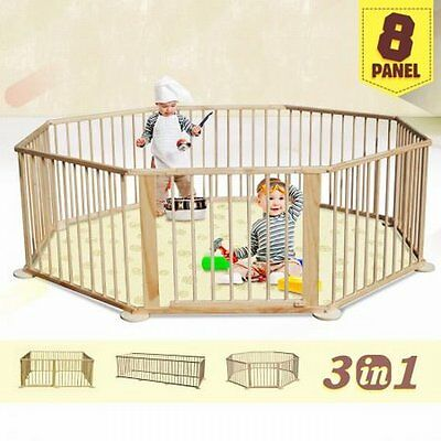 NEW 8 Panel Wooden Kids Baby Toddler Deluxe Playpen Divider with Connection Bar