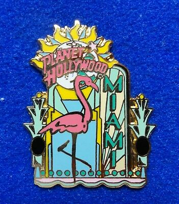 Miami Florida Flamingo Bird Planet Hollywood Blue Planet Stars Logo PH Pin z3