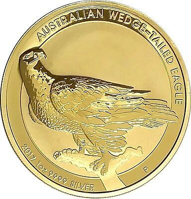 24k Gold Gilded  2017 Australia Wedge-Tailed Eagle 1oz .9999 pure Silver Coin  F