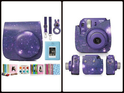 Fujifilm Instax Mini 8 Instant Camera Accessory Bundles Set Color Lens Purple