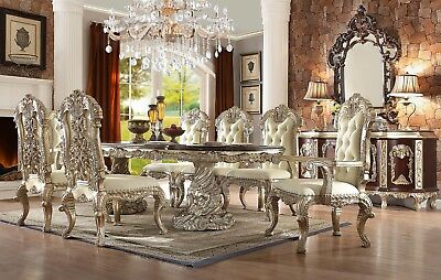 Homey Design HD-8017 French Provincial Dining Room Set & Dresser total 11 pieces