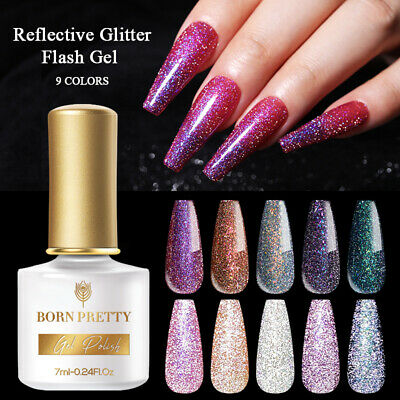 6/10ml Glitter Sequins UV Gel Nail Polish Varnish Soak Off  Born Pretty