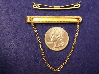 Very Attractive Pair Of Mens Vtg Antique Art Deco Yellow Gold Toned Tie Clips