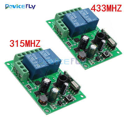 315MHz/433MHZ 110-220V 2CH Wireless RF Relay Remote Control Switch Receiver