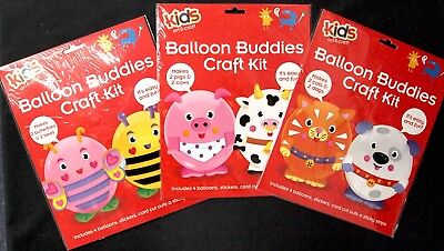 Balloon Buddies Craft Kit - Dogs Cats Butterfly Bees Pig Cow Diy Art Project Fun