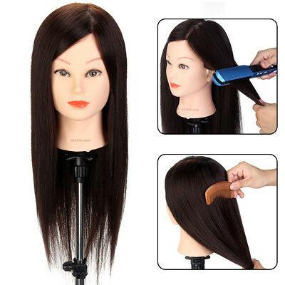 "80% Real Human Hair 22"" Hairdressing Mannequin Practice Training Head + Clamp AU"
