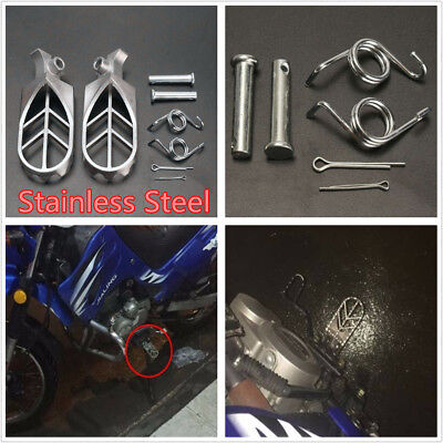 2X Stainless Steel Motorcycle Motorbike Front Foot Peg Footrest Silver Universal