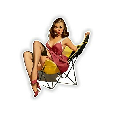 Pin Up Girl Sticker Vintage Sexy #10 - 8.5x10cm  (3.3 x 4inches)