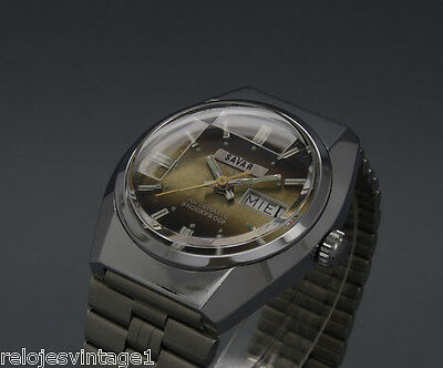 New Old Stock 33mm SAVAR faceted crystal vintage AUTOMATIC watch NOS FE 4612