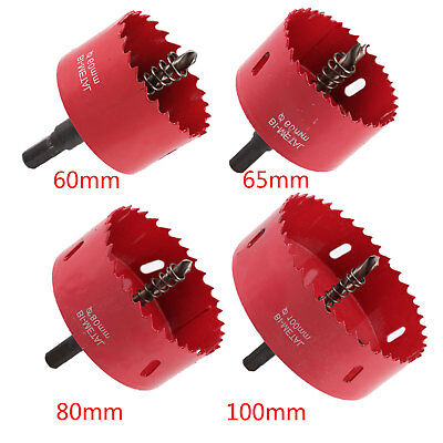 60-100mm M42 Metal Hole Saw Holesaw Cut Arbor Pilot Drill Bit Wood Plastic w