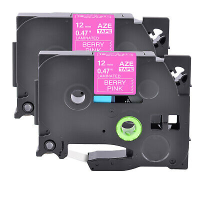 """2PK TZ TZe-MQP35 White on Berry Pink Label Tape For Brother PT-1890 12mm 1/2"""""""