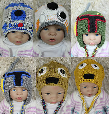New Star Wars Hat R2D2 Hat BB8 Hat C3PO Hat Knit Crochet Hat Baby Hat Fett Hat