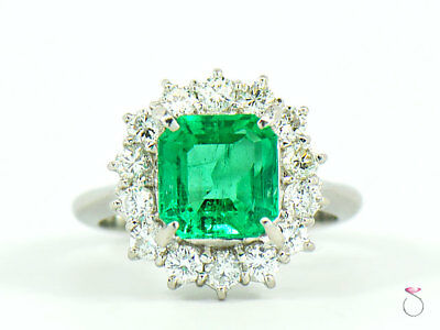 Magnificent 2.64 ct. Fine Colombian Emerald & Diamond Platinum Ring, GIA Report