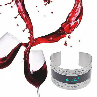 Stainless Steel Champagne Wine Bucket Red Band Silver Beer Temperature Sensor