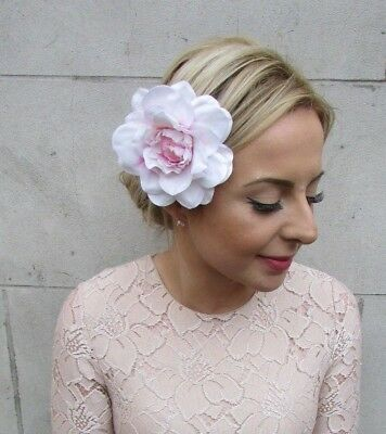 Large White Blush Pink Dahlia Flower Hair Clip Rose Fascinator Bridesmaid 5202