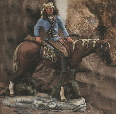 Ceramic Bisque Native American Indian Apache On Horseback with a Gun U-Paint