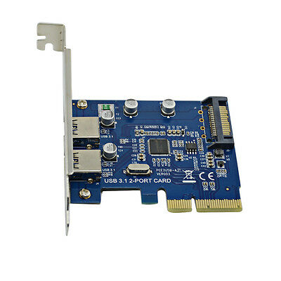 PCI-E Express USB 3.1 2 Ports HUB Expansion Card Adapter Super Transfer Speed