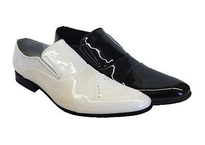 Mens White Patent Italian Smart Formal Dress Party Wedding Slip On Shoes UK Size