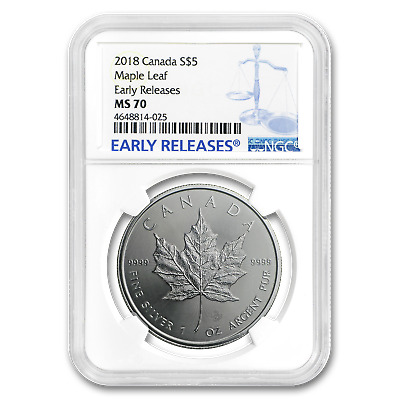 2018 Canada 1 oz Silver Maple Leaf MS-70 NGC (Early Release) - SKU#161357