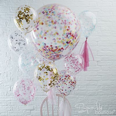 "CONFETTI FILLED BALLOONS -Regular 12""/Large 36"" Helium Quality Party Decorations"