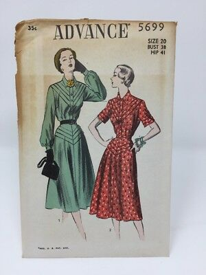 Ff Vintage Advance Sewing Pattern 5145 Miss Size 14 Dress With