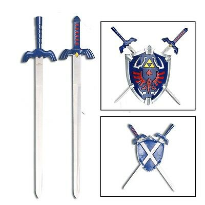 "Legend Of Zelda Hylian 8.5"" Shield & 17"" Link Swords Wall Display Set ."