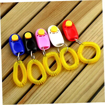 Dog Pet Click Clicker Training Obedience Agility Trainer Aid Wrist Strap ra