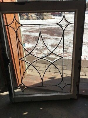 Sg 1801 Antique Four PointBeveled  Glass Window 23.25 X 30.5