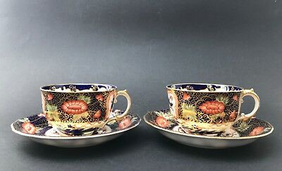 Pair of Antique Royal Crown Derby Old Imari Porcelain Cups & Saucers 1907