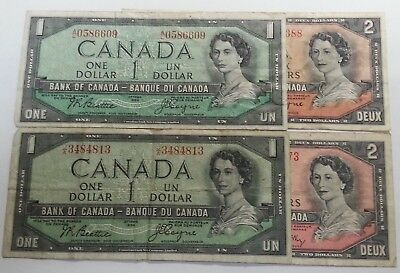 1954 Canada (Ottawa) $1 & $2 Notes ~ 2 Devil/demon In Hair, 2 Regular Variety!