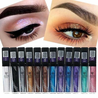 12 Colors Waterproof Metallic Liquid Eyeshadow Eye Makeup Glitter Shimmer