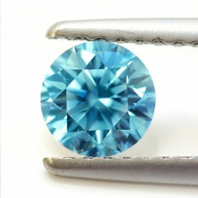 Moissanite bleue intense de 6,22Cts en rond facetté (brillant)