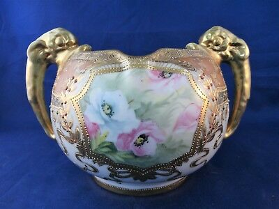 Nippon Moriage Hp Floral Handled Vase Blue Maple Leaf Mark C 1891