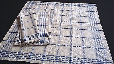 rare old unused linen kitchen Towel ecru with blue squares and shamrock pattern