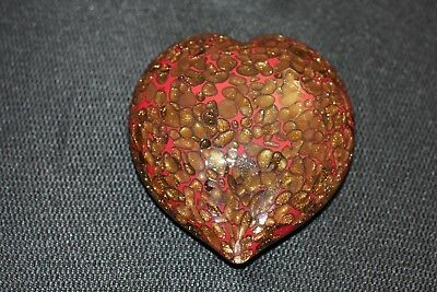 Murano Italian Art Glass Sculpture or Paperweight -Amazing Speckled Heart Design