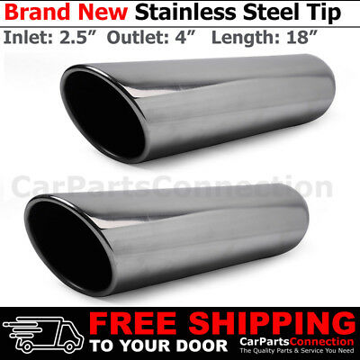 Stainless Truck Angle Polish 18 inch Weld-On Exhaust Tip 2.5 In 4 Out x2 213059