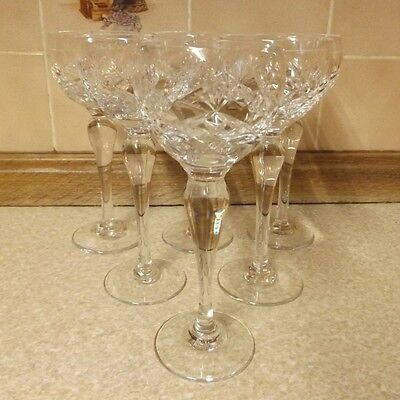 6 Brierley Crystal Hock Glasses