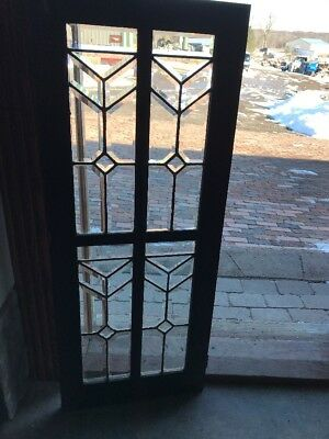 Sg 1811 Antique All Beveled Glass Cabinet Door Window 16 X 40
