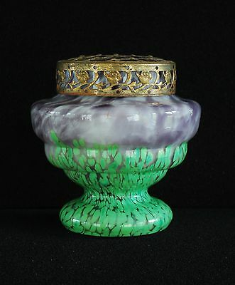 STRIKING KRALIK c1930 ART DECO CZECH GREEN / LAVENDER SPATTER GLASS VASE w FROG
