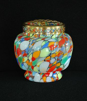 STRIKING c1930 ART DECO CZECH MULTI-COLOR SPATTER GLASS ROSE BOWL VASE w FROG