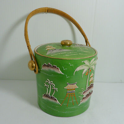 Vintage 1920s, Moriyama Japan Variant Gaudy Blue Willow, Green Biscuit Jar