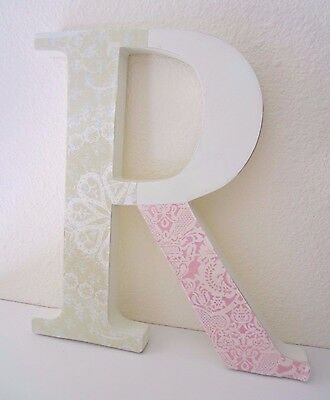 "Pottery Barn Kids Nursery Wall Letter ""R"" Shabby Medallion Rosette Pastel Girls"