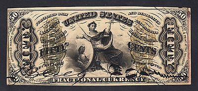 "US 50c Fractional Currency ""Justice"" Autographed Red Back FR 1355 Ch AU"