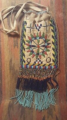 Double Sided Native American Apache Beaded Bag - Museum Quality