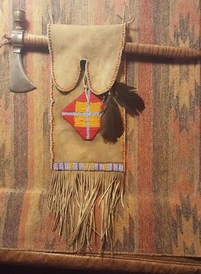 Native American Tomahawk & Peace Pipe with Bead Work Bag